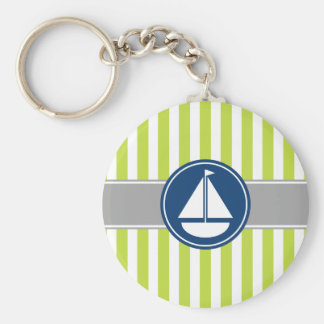 Lime Green Nautical Sailboat Stripes Basic Round Button Keychain