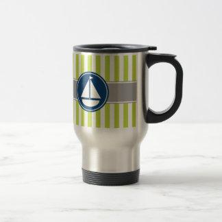 Lime Green Nautical Sailboat Stripes Travel Mug