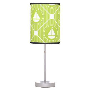 Beach Themed Lime Green Nautical Sailboat Table Lamp