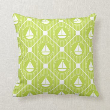 Beach Themed Lime Green Nautical Sailboat Throw Pillow