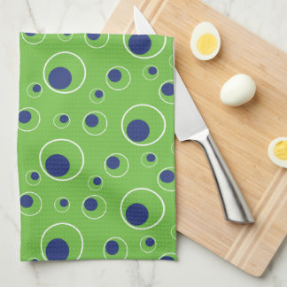 Lime Green Navy Blue Circles Dots Kitchen Towel