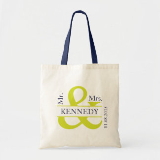 Lime Green Navy Blue Newly Weds Wedding Favor Budget Tote Bag