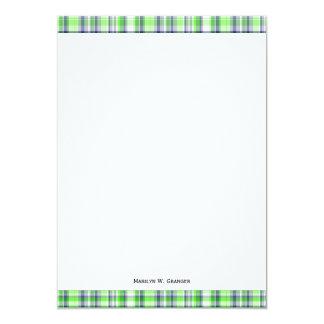 Lime Green, Navy Blue, White Preppy Madras Plaid Card