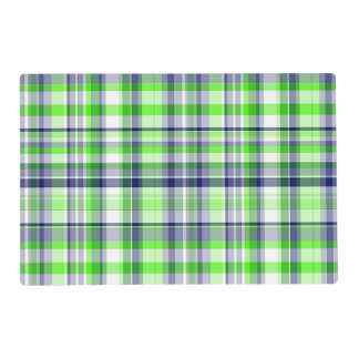 Lime Green, Navy Blue, White Preppy Madras Plaid Placemat