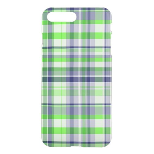 Lime Green, Navy Blue, White Preppy Madras Plaid Phone Case