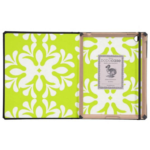 Lime green neon damask floral girly pattern case for iPad