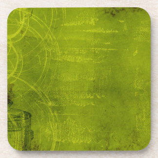 LIme Green Neon Halloween Themed Background Beverage Coaster
