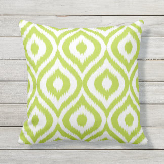 Lime Green Ogee Ikat Pattern Patio Deck Chair Outdoor Pillow