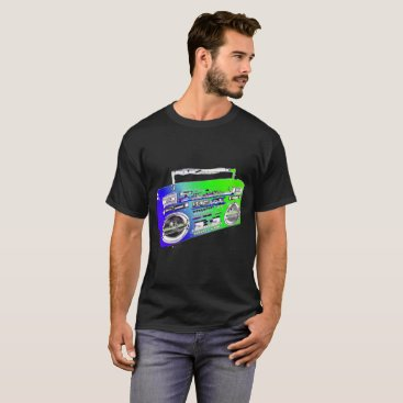 Beach Themed Lime Green Old School Boombox T-Shirt