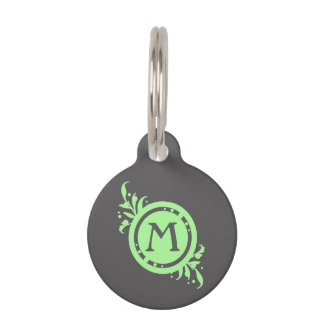 Lime Green on Grey Floral Monogram Pet Name Tag