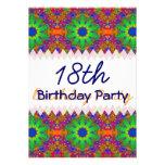 Lime Green Orange and Purple Stars Birthday Invites