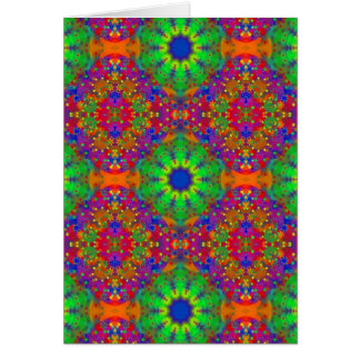 Lime Green Orange and Purple Stars Mandala Card