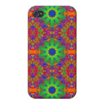 Lime Green Orange and Purple Stars Mandala iPhone 4/4S Covers