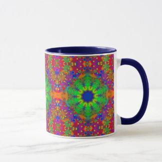 Lime Green Orange and Purple Stars Mandala Mug