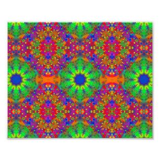 Lime Green Orange and Purple Stars Mandala Photo Print