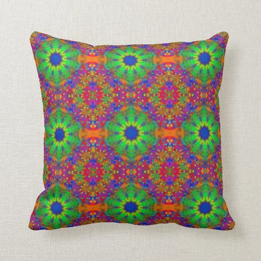Purple And Lime Green Throw Pillows : Lime Green Orange and Purple Stars Mandala Pillow Zazzle