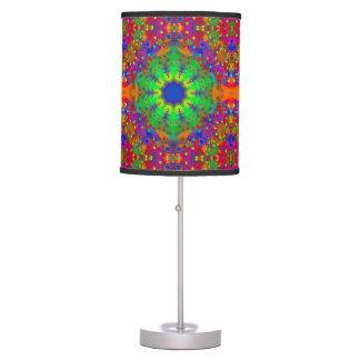 Lime Green Orange and Purple Stars Mandala Table Lamp