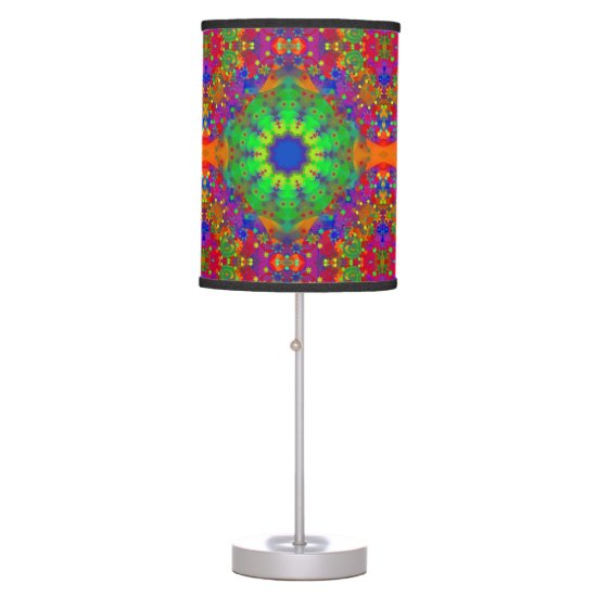 Lime Green Orange and Purple Stars Mandala Table Lamp