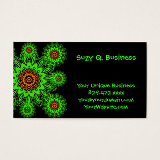 Lime Green Orange Black Lace Doily Mandala Snowfla Business Card