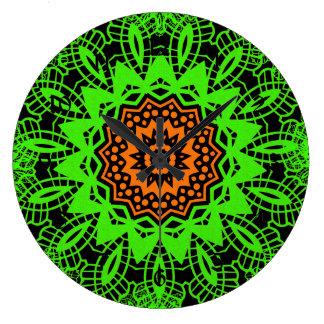 Lime Green Orange Black Lace Doily Mandala Snowfla Wall Clock