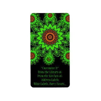 Lime Green Orange Black Lace Doily Mandala Snowfla Labels