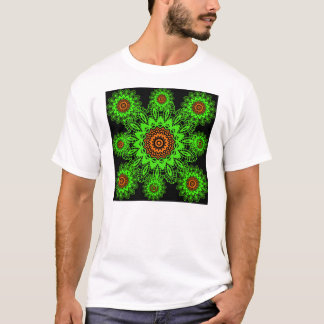 Lime Green Orange Black Lace Doily Mandala Snowfla T-Shirt