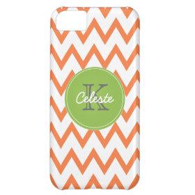 Lime Green, Orange Chevron monogram iPhone5 case iPhone 5C Cover