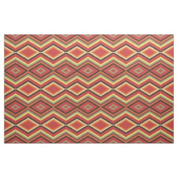 Aztec Themed Lime Green Orange Yellow Red Black Ethnic Look Fabric