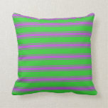 [ Thumbnail: Lime Green & Orchid Striped/Lined Pattern Pillow ]
