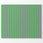 [ Thumbnail: Lime Green & Orchid Striped/Lined Pattern Wrapping Paper ]