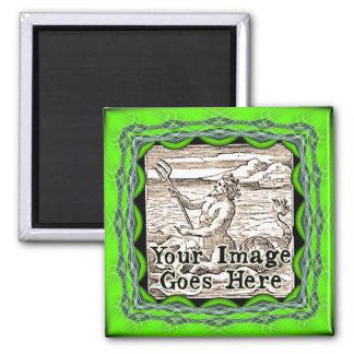 Lime Green Ornate Fantasy Frame Template Magnet