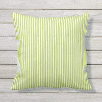 Lime Green Outdoor Pillows - Oxford Stripe
