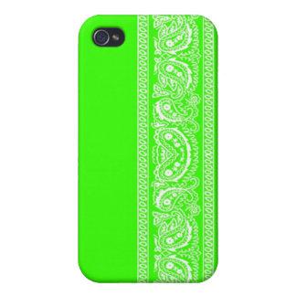 Lime Green Paisley Bandana iPhone 4 Case
