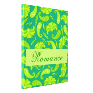Lime Green  Paisley Romance Wrapped Art Canvas Canvas Print