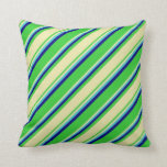 [ Thumbnail: Lime Green, Pale Goldenrod, Turquoise, and Blue Throw Pillow ]