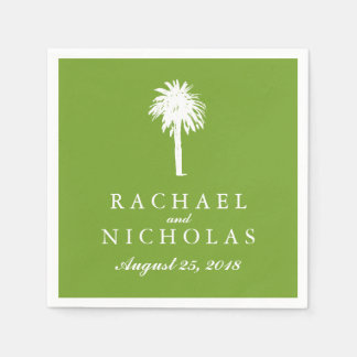 Lime Green Palm Tree Tropics | Wedding Paper Napkin