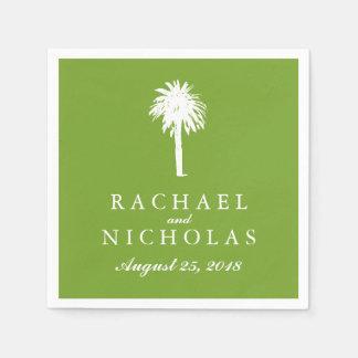Lime Green Palm Tree Tropics   Wedding Paper Napkin