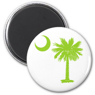 Lime Green Palmetto 2 Inch Round Magnet