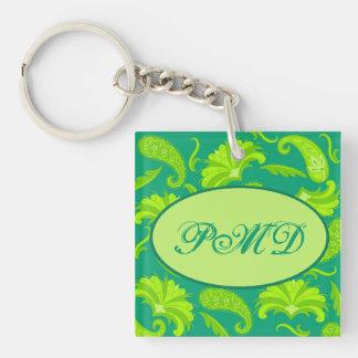Lime Green Parisian Paisley Monogram Key Chain