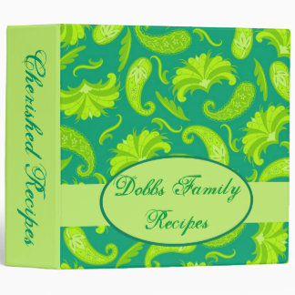 Lime Green Parisian Paisley Recipe Memory Album 3 Ring Binder