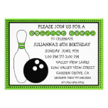 Lime Green Party Down the Lane Bowling Party Invite