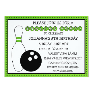Lime Green Party Down the Lane Bowling Party 4.5x6.25 Paper Invitation Card