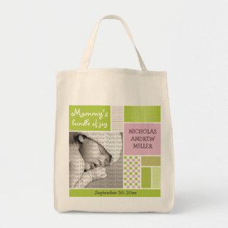 Lime Green Patchwork Custom Photo Diaper/Mommy Bag