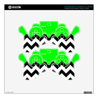 Lime Green Pattern On Large Zigzag Chevron PS3 Controller Decals