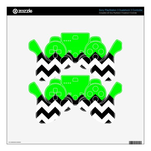 Lime Green Pattern On Large Zigzag Chevron Skin For PS3 Controller