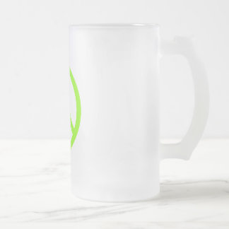 Lime Green Peace Frosted Glass Beer Mug