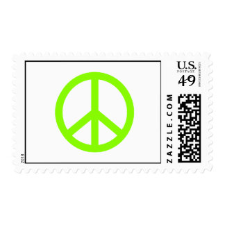 Lime Green Peace Postage Stamps