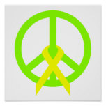 Lime Green Peace & Ribbon Poster