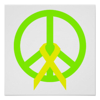 Lime Green Peace & Ribbon Poster