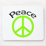 Lime Green Peace & Word Mouse Pad